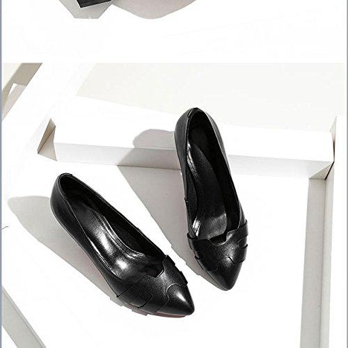 Bouche Talon Chaussures Talons Pointues Chaussures Cuir Black épais à en Hauts Joker Verni Talon Chaussures Chaussures Moyen DKFJKI Simples Profonde Peu TqwOCT