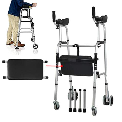 (JOEPET Standard Walkers, Compact Folding Walker,Foldable Lower Limb Trainer with Arm Rest Pad,4 Foot Tube and 4 Replacement Wheel for The Limited Mobility (Supports up to 180kg))