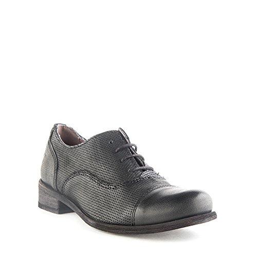 Felmini - Zapatos de cordones de Piel para mujer negro negro negro Size: 41 EU GArtYm