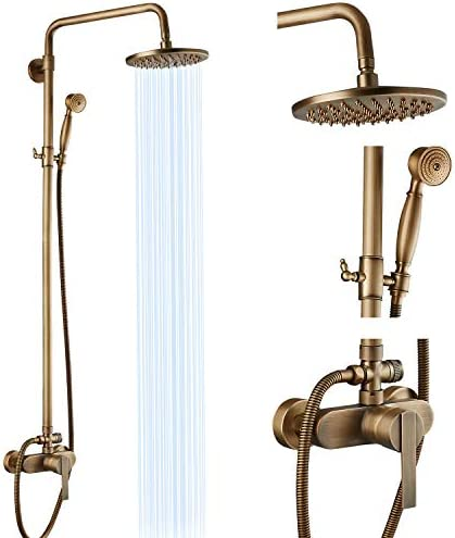 Airuida Antique Brass Exposed Pipe Shower System Single care for 8 Inch Rainfall Shower Head Solid copper Diverter Adjustable Shower Head Bar Modern Dual Functions Shower Faucet Combo Unit Set
