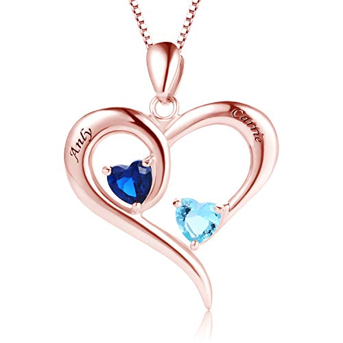 MissNity 925 Sterling Silver Personalized 2 Heart Simulated Birthstone Engraved Names Necklace Rose Gold for Women Mother Couples Promise Pendant Jewelry (Rose Gold) ()