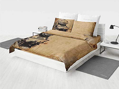 Twin Engine Mosquito (Steam Engine Modern Bedding Set Antique Old Iron Train Aged Sepia Grunge Style Design Industrial Theme Artsy Print Printing Four Pieces of Bedding Set Brown)