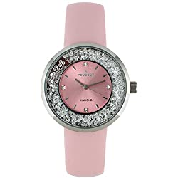 Diamond Floating With Leather Strap Watch