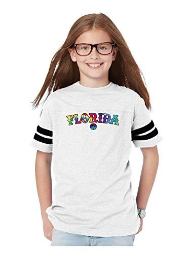 Mom`s Favorite Florida Tie Dye Youth Unisex Football Fine Jersey Tee (YLW) White