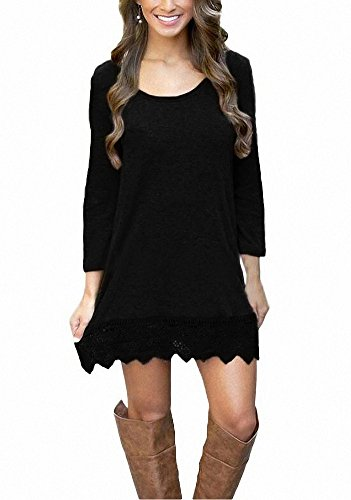 Afibi Women's Long Sleeve A-Line Lace Stitching Trim Casual Dress (Small, Black) (Boots Dresses Sweater)