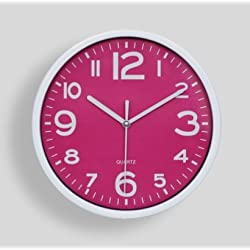 Candylight Candy Color Mute Quartz Wall Clock, Contemporary Household Vogue Contracted (Rose Red)