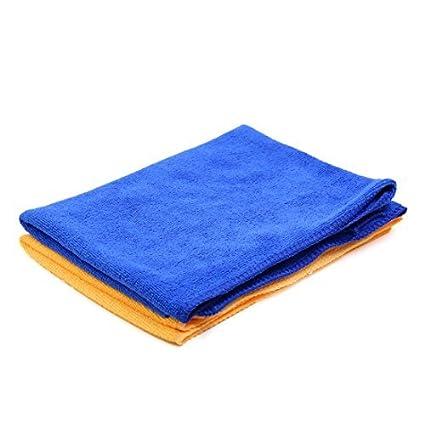 eDealMax 2pcs Azul Amarillo Inicio Alquiler de pulido de limpieza Lavado Wipe toalla 33cm x 65cm