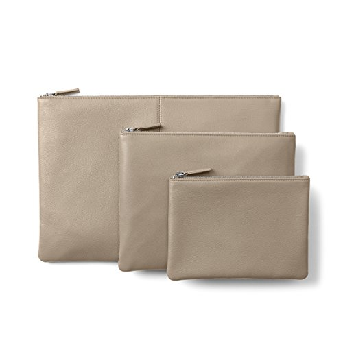 Zippered Pouches - Full Grain Leather Leather - Ginger (gray) by Leatherology