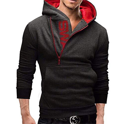 Gris Automne Hx Foncé Confortable Sport Manches Tailles Vêtements Zip Mode Hommes Longues Enfants Hoodie Hiver Et gqw6v6n5O