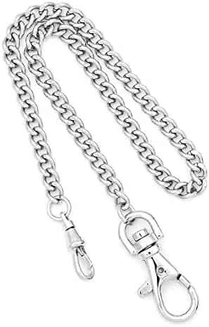 Charles Hubert Stainless Steel 14.5in Pocket Watch Chain w/IP-plated Clasps