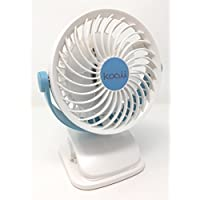 Quiet Mini Clip On Fan With Rechargeable Battery. Portable With 360 Degree Rotation Is Ideal For Baby Stroller, Crib, Office Desk, Camping, Dorm Room, Picnic, Or A Beach Umbrella. (Blue/White)
