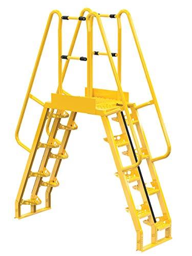 """Vestil COLA-5-68-20 Yellow Alternating Cross-Over Ladder, 77"""" x 103"""", 16, 350 lb. Capacity"""