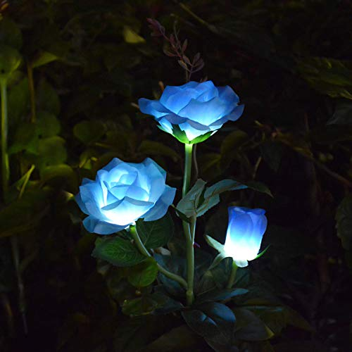 LAMPDREAM LED Rose Solar Flower Lights Outdoor Decorative Garden Stake Lights for Garden Yard Grave Vase Flowers Decor, Blue