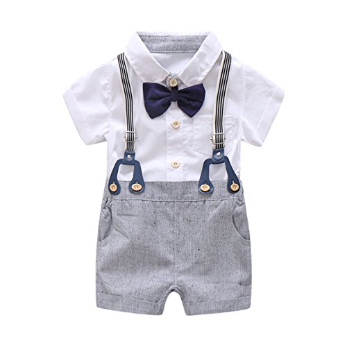 Baby Boys Gentleman Outfits Suits, Infant Short Sleeve Shirt+Bib Pants+Bow Tie Overalls Clothes Set White -