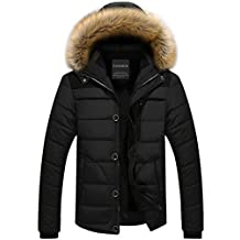 Men Parka Hooded Winter Jackets Outdoors Coat Removable Fur Hood Army Classic