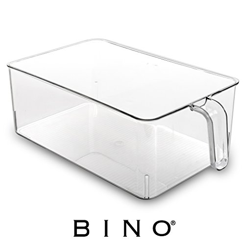 BINO Refrigerator, Freezer, and Kitchen Pantry Cabinet Organizer Plastic Bin with Handle, Clear Plastic Storage Bins Refrigerator Organizer Bins Fridge Organizer Pantry Organizer Pantry Storage, Large - Ice Cube Storage