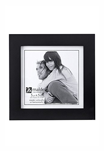 Malden 5x5  Picture Frame - Wide Real Wood Molding, Real Glass - Black by Malden