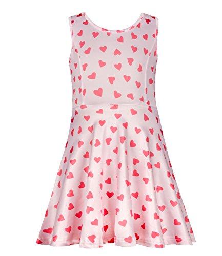 PHOEBE CAT Girls Unicorn Dress Soft Heart Summer Casual Dress for 6 - Heart Pink Dress