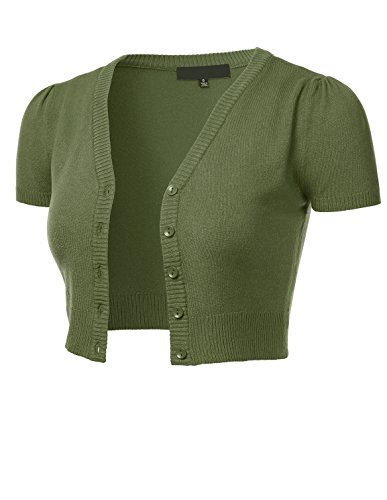 FLORIA Womens Button Down Short Sleeve Cropped Bolero Cardigan Sweater Sage 1XL Bolero Sage