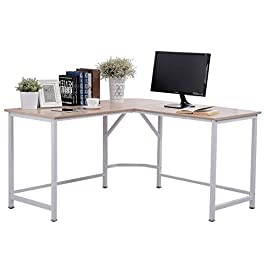 TOPSKY L-Shaped Desk Corner Computer Desk 55″ x 55″ with 24″ Deep Workstation Bevel Edge Design