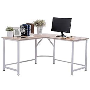 TOPSKY L-Shaped Desk Corner Computer Desk 55″ x 55″ with 24″ Deep Workstation Bevel Edge Design