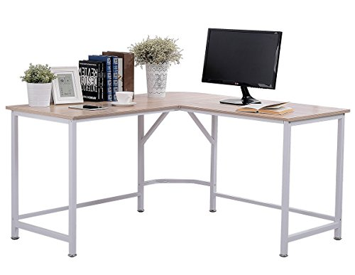 "TOPSKY Computer Desk 55"" x 55"" with 24"" Deep L-Shaped Desk Corner Workstation Bevel Edge Design(Oak)"