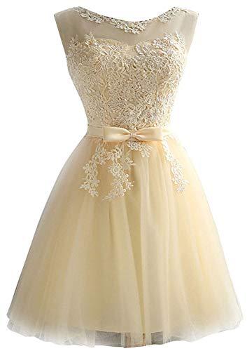 EileenDor Women's Short Tulle Prom Dresses Champagne Graduation Lace Knee Length Junior Bridesmaid Dresses Size 6