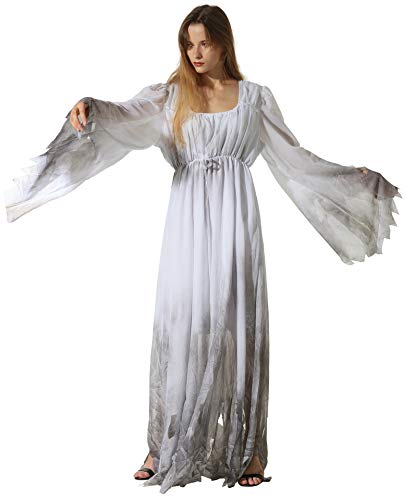 Honeystore Women's Scary White Ghost Bride Halloween Costume Outfits Cosplay White Grey XL XLFT22100 ()