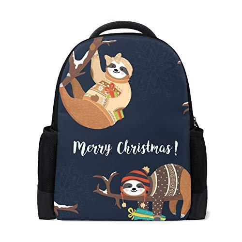 U LIFE Mochila Escolar Portátil Bolsas Senderismo Bolsa para Niños Niñas Niños Hombres Mujeres Lindo Sloth Merry Navidad...