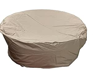 "All Weather 65""x 31.5""H in Diameter Outdoor Round Daybed Patio Furniture Cover in Beige - Heavy Duty Garden Furniture Cover"