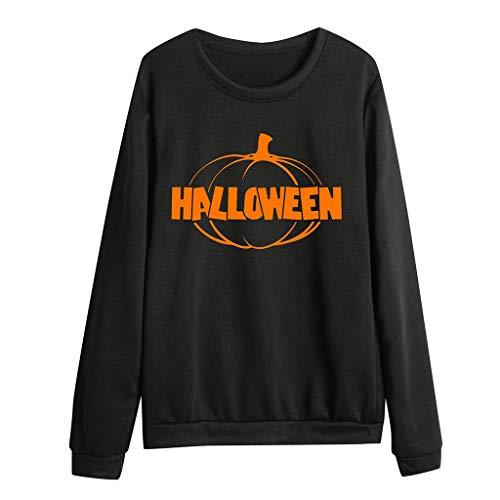 Xinantime Womens Halloween Party Sweatshirt Casual Pumpkin Letter Print Full Sleeve O-Neck Blouse ()