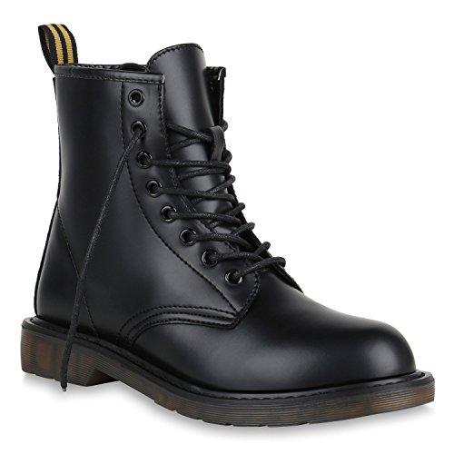 Stiefelparadies Herren Worker Boots Stiefeletten Leder-Optik Camouflage Stiefel Army Look Schuhe Profilsohle Schnürschuhe Flandell Schwarz Amares