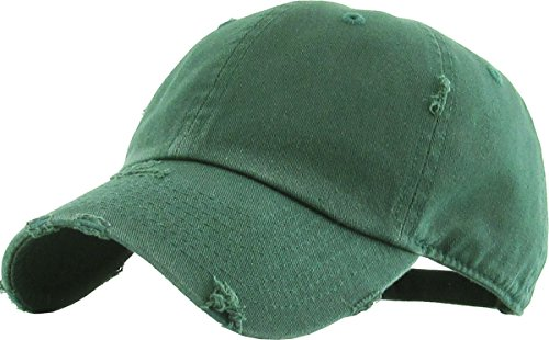 (KBETHOS Vintage Washed Distressed Cotton Dad Hat Baseball Cap Adjustable Polo Trucker Unisex Style Headwear (Vintage) Hunter Green Adjustable)