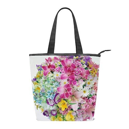Lilies Roses Carnations Daisies Bouquets Women's Handbags Canvas Shoulder Bags Retro Casual Tote Purses