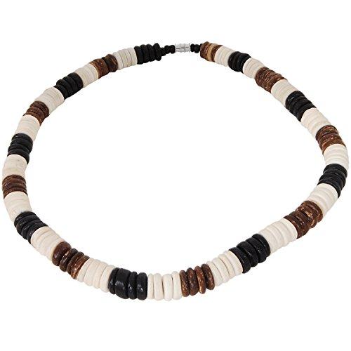 Kauai Tri-Color Coconut Shell Discs Hawaiian Mens Bead Choker Necklace