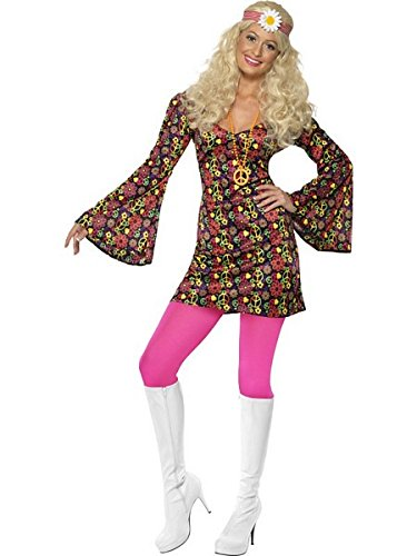 Smiffy's Women's 1960's CND Costume, Dress with Bell Sleeves, 60's Groovy Baby, Serious Fun, Size 6-8, (60 Costume)