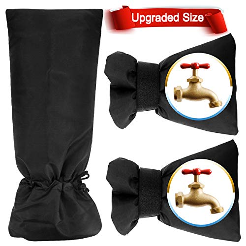 GoodtoU 3 Pack Bigger Size Outdoor Faucet Covers for Winter Freeze Protection Upgraded Style Black