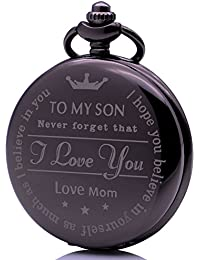 Men's Boys Engraved Pocket Watches to My Son,Never Forget That, I Love You - Love Mom Gift