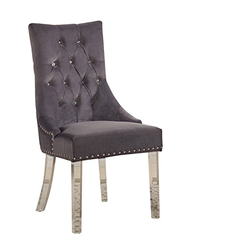 Armen Living LCGOCHGRAY Gobi Dining Chair in Grey Velvet and Acrylic Finish ()