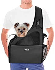 SlowTon Pet Dog Sling Carrier, Hands Free Papoose Small Animal Puppy Up to 6 lbs Travel Bag Tote Breathable Mesh Hard Bottom Support Adjustable Padded Strap Pocket Safety Belt Machine Washable (Large, Black)