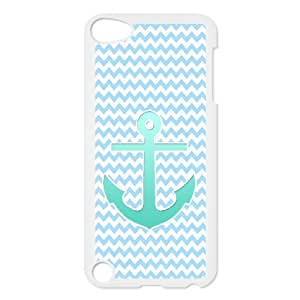 WJHSSB Customized Print Blue Chevron Anchor Pattern Hard Case for iPod Touch 5
