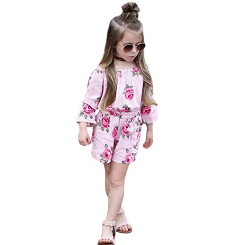 Ankola Girls Jumpsuit,Toddler Baby Girl Floral Striped Print One-pieces Romper Jumpsuit Outfit Set Clothes (Pink, ()