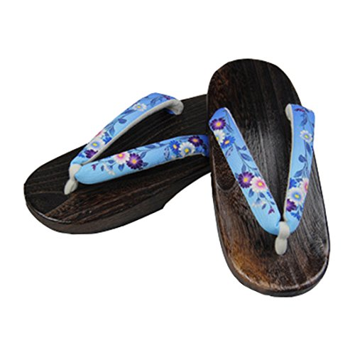 C sofei Sandals Women's blue Floral Japanese Shoes Wooden Ez Clogs Traditional Geta dzqwv8