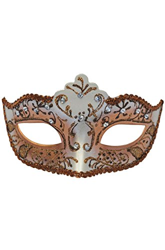 [Mememall Fashion Bejeweled Venetian Mask (Brown)] (Sally Brown Costume)