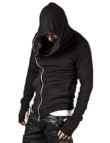 Big Hood - Modfine Men's Hipster Hip Hop Casual Jacket Full Zip Up Hoodie Irregular Sweatshirts Ourdoor Coat Black X-Large