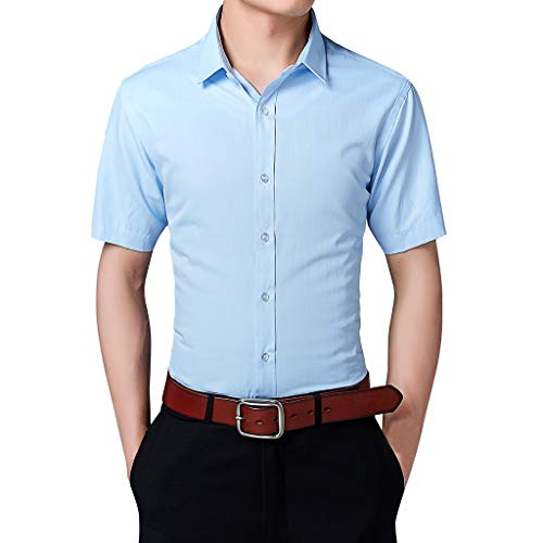FEDULK Plus Size Men's Dress Shirt Short Sleeve Button Down Stand Collar Business Fashion Solid Tee T-Shirt(Blue, Large)