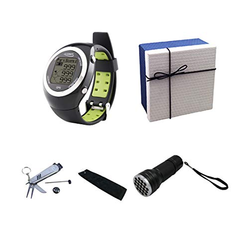 POSMA GS-GT2GA Golf Fitness GPS Watch Range Finder Deluxe Gift Set with 6-in-1 Divot Tool Golf Towel and 21 LED UV Ball Finder Torch Included Elegant Gift Box ()