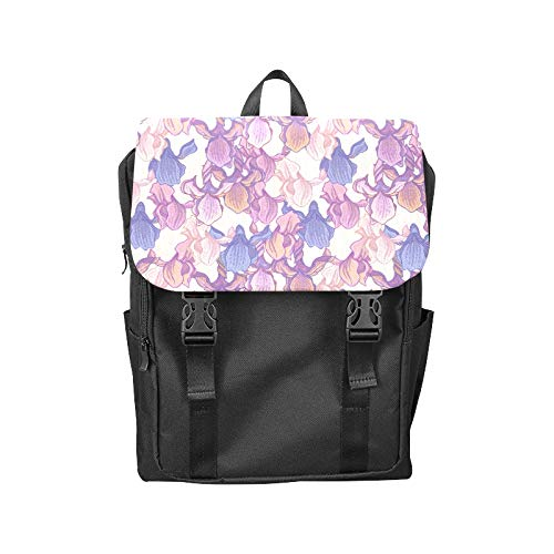 Fashion Flip Cover Notebook Purple Iris Flower Spring Romantic Hand-Painted Art Embroidery Print Laptop Backpack Travel Men Women Business Computer Backpack Oxford Fabric Vintage School Shoulder Bag