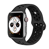 AdMaster Compatible with Apple Watch Bands 42mm 44mm,Soft Silicone Replacement Wristband Compatible with iWatch Series 1/2/3/4 -M/L Anthracite/Black