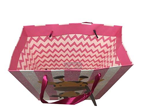 Baby Girl or Boy Snuggle Plush, Sesame Street Teether Rattle & Baby Bath Set - Glitter Gift Bag Set (Pink Giraffe Plush, Pink Teether Rattle & Baby Body Wash Set, Giraffe Pink Glitter Gift Bag)